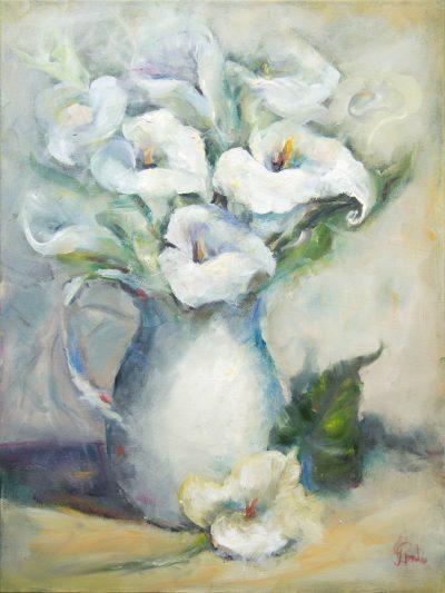 Oil - Arum Lilies -25x60