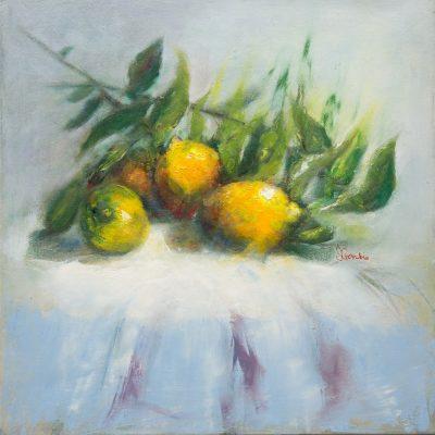 Oil - Lemons And Leaves - 40x40